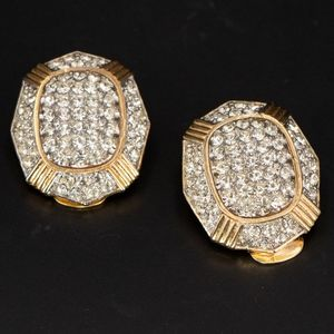 1980s Gold Toned Crystal Clip Ons